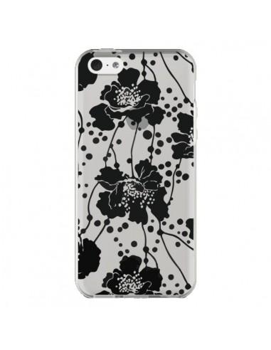 Coque Fleurs Noirs Flower Transparente pour iPhone 5C - Dricia Do