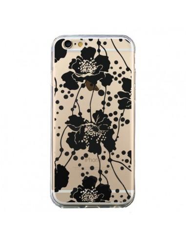 Coque Fleurs Noirs Flower Transparente pour iPhone 6 et 6S - Dricia Do