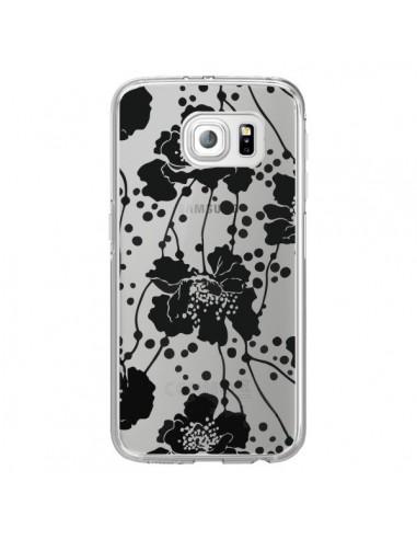 Coque Fleurs Noirs Flower Transparente pour Samsung Galaxy S6 Edge - Dricia Do