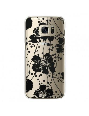 Coque Fleurs Noirs Flower Transparente pour Samsung Galaxy S7 Edge - Dricia Do