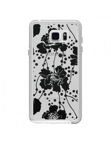 Coque Fleurs Noirs Flower Transparente pour Samsung Galaxy Note 5 - Dricia Do