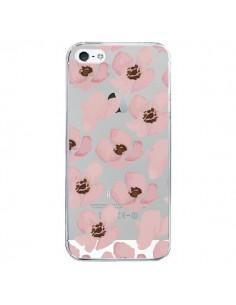 Coque Fleurs Roses Flower Transparente pour iPhone 5/5S et SE - Dricia Do