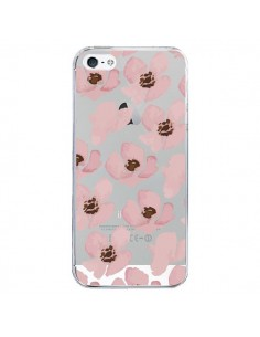Coque iPhone 5/5S et SE Fleurs Roses Flower Transparente - Dricia Do
