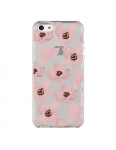 Coque Fleurs Roses Flower Transparente pour iPhone 5C - Dricia Do