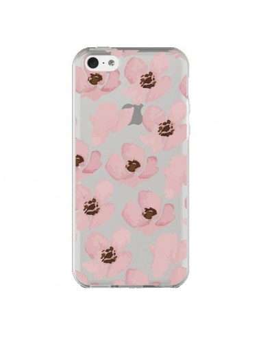 Coque Fleurs Roses Flower Transparente pour iPhone 5C - Dricia Do