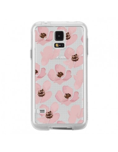 Coque Fleurs Roses Flower Transparente pour Samsung Galaxy S5 - Dricia Do