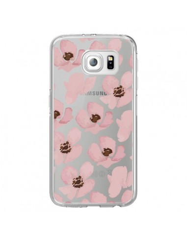 Coque Fleurs Roses Flower Transparente pour Samsung Galaxy S6 Edge - Dricia Do