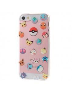 Coque iPhone 5/5S et SE Tête de Pokemons Pokeball Transparente en silicone semi-rigide TPU