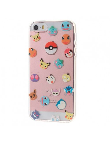 Coque Tête de Pokemons Pokeball Transparente en silicone semi-rigide TPU pour iPhone 5/5S et SE