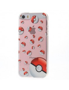 Coque iPhone 5/5S et SE Pokeball Miniature Pokemon Transparente en silicone semi-rigide TPU