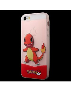Coque iPhone 5/5S et SE Salamèche Orange Pokemon Transparente en silicone semi-rigide TPU