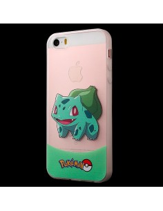 Coque Bulbizarre Vert Pokemon Transparente en silicone semi-rigide TPU pour iPhone 5/5S et SE