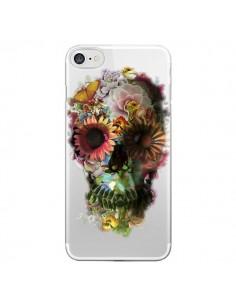 Coque iPhone 7/8 et SE 2020 Skull Flower Tête de Mort Transparente - Ali Gulec