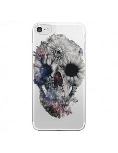 Coque iPhone 7 et 8 Floral Skull Tête de Mort Transparente - Ali Gulec