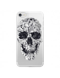 Coque iPhone 7/8 et SE 2020 Doodle Skull Dessin Tête de Mort Transparente - Ali Gulec