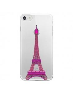 Coque iPhone 7 et 8 Tour Eiffel Rose Paris Transparente - Asano Yamazaki