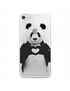 Coque Panda All You Need Is Love Transparente pour iPhone 7 et 8 - Balazs Solti