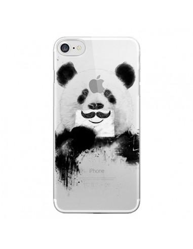Coque iPhone 7 et 8 Funny Panda Moustache Transparente - Balazs Solti