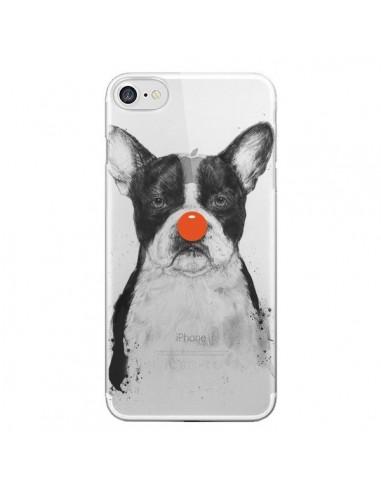 Coque iPhone 7 et 8 Clown Bulldog Dog Chien Transparente - Balazs Solti