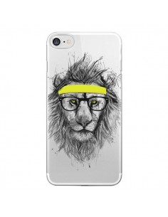 Coque Hipster Lion Transparente pour iPhone 7 - Balazs Solti