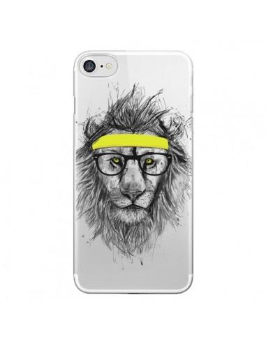 Coque iPhone 7 et 8 Hipster Lion Transparente - Balazs Solti