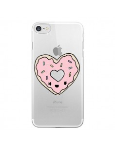 Coque iPhone 7/8 et SE 2020 Donuts Heart Coeur Rose Transparente - Claudia Ramos