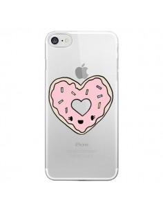 Coque iPhone 7 et 8 Donuts Heart Coeur Rose Transparente - Claudia Ramos