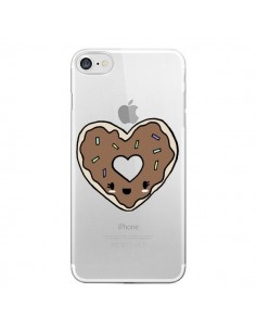 Coque iPhone 7/8 et SE 2020 Donuts Heart Coeur Chocolat Transparente - Claudia Ramos