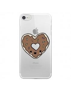 Coque iPhone 7 et 8 Donuts Heart Coeur Chocolat Transparente - Claudia Ramos