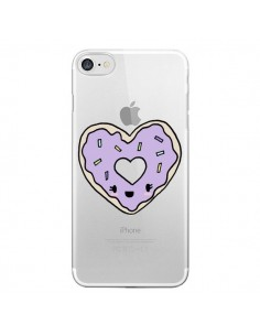 Coque Donuts Heart Coeur Violet Transparente pour iPhone 7 - Claudia Ramos
