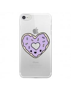 Coque iPhone 7 et 8 Donuts Heart Coeur Violet Transparente - Claudia Ramos