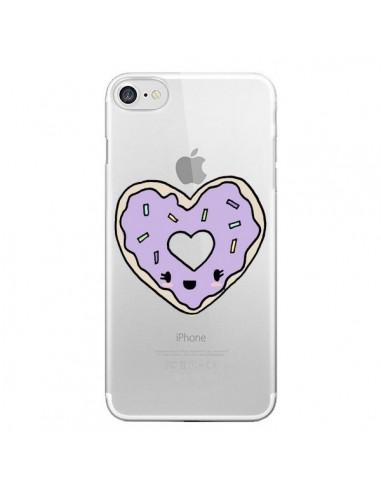 Coque Donuts Heart Coeur Violet Transparente pour iPhone 7 et 8 - Claudia Ramos
