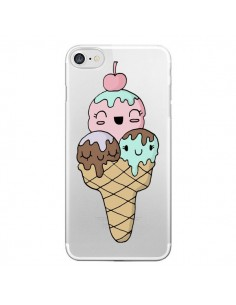 Coque iPhone 7/8 et SE 2020 Ice Cream Glace Summer Ete Cerise Transparente - Claudia Ramos