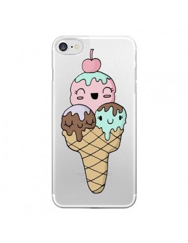 Coque Ice Cream Glace Summer Ete Cerise Transparente pour iPhone 7 et 8 - Claudia Ramos