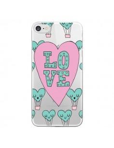 Coque iPhone 7 et 8 Love Nuage Montgolfier Transparente - Claudia Ramos