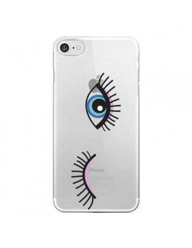 Coque Eyes Oeil Yeux Bleus Transparente pour iPhone 7 et 8 - Elsa Lmb