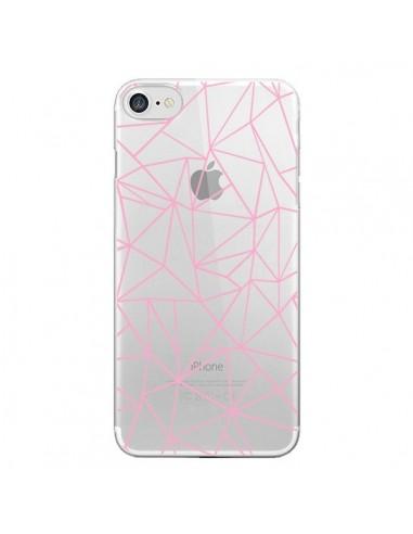 Coque iPhone 7 et 8 Lignes Triangle Rose Transparente - Project M