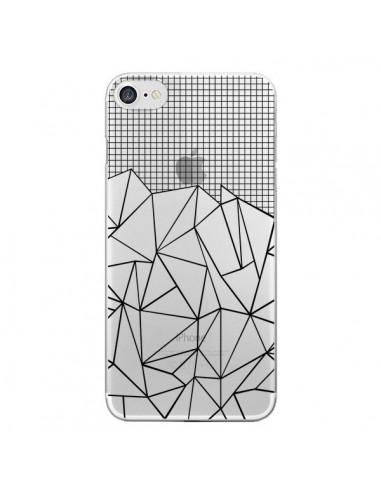 Coque iPhone 7 et 8 Lignes Grille Grid Abstract Noir Transparente - Project M
