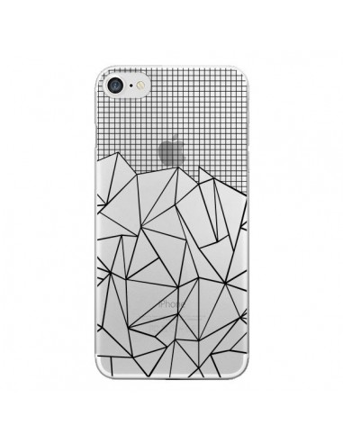 Coque Lignes Grille Grid Abstract Noir Transparente pour iPhone 7 et 8 - Project M