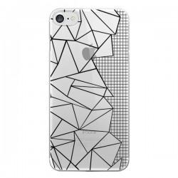 Coque iPhone 7/8 et SE 2020 Lignes Grilles Side Grid Abstract Noir Transparente - Project M