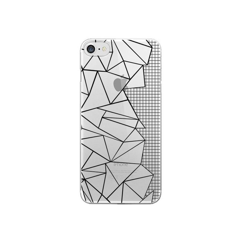 Coque iPhone 7 et 8 Lignes Grilles Side Grid Abstract Noir Transparente - Project M
