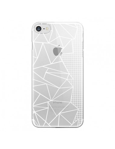 Coque iPhone 7 et 8 Lignes Grilles Side Grid Abstract Blanc Transparente - Project M
