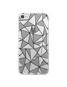 Coque Lignes Grilles Triangles Grid Abstract Noir Transparente pour iPhone 7 et 8 - Project M