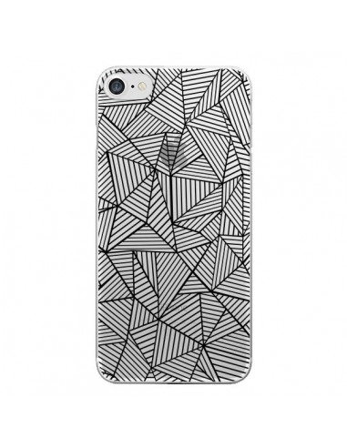 Coque Lignes Grilles Triangles Full Grid Abstract Noir Transparente pour iPhone 7 et 8 - Project M