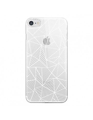 Coque Lignes Grilles Triangles Full Grid Abstract Blanc Transparente pour iPhone 7 et 8 - Project M