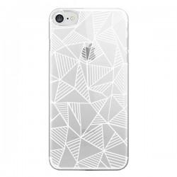 Coque iPhone 7 et 8 Lignes Grilles Triangles Grid Abstract Blanc Transparente - Project M