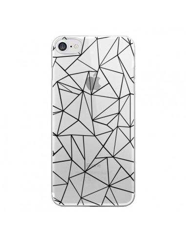 Coque iPhone 7 et 8 Lignes Triangles Grid Abstract Noir Transparente - Project M