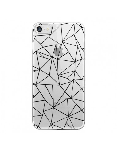 Coque Lignes Triangles Grid Abstract Noir Transparente pour iPhone 7 et 8 - Project M