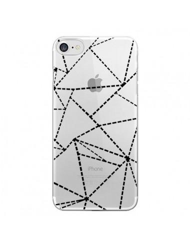 Coque Lignes Points Abstract Noir Transparente pour iPhone 7 et 8 - Project M