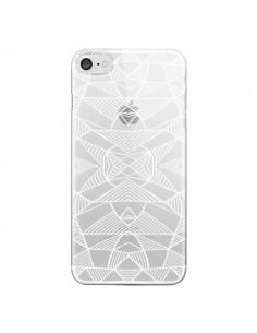 Coque Lignes Miroir Grilles Triangles Grid Abstract Blanc Transparente pour iPhone 7 et 8 - Project M
